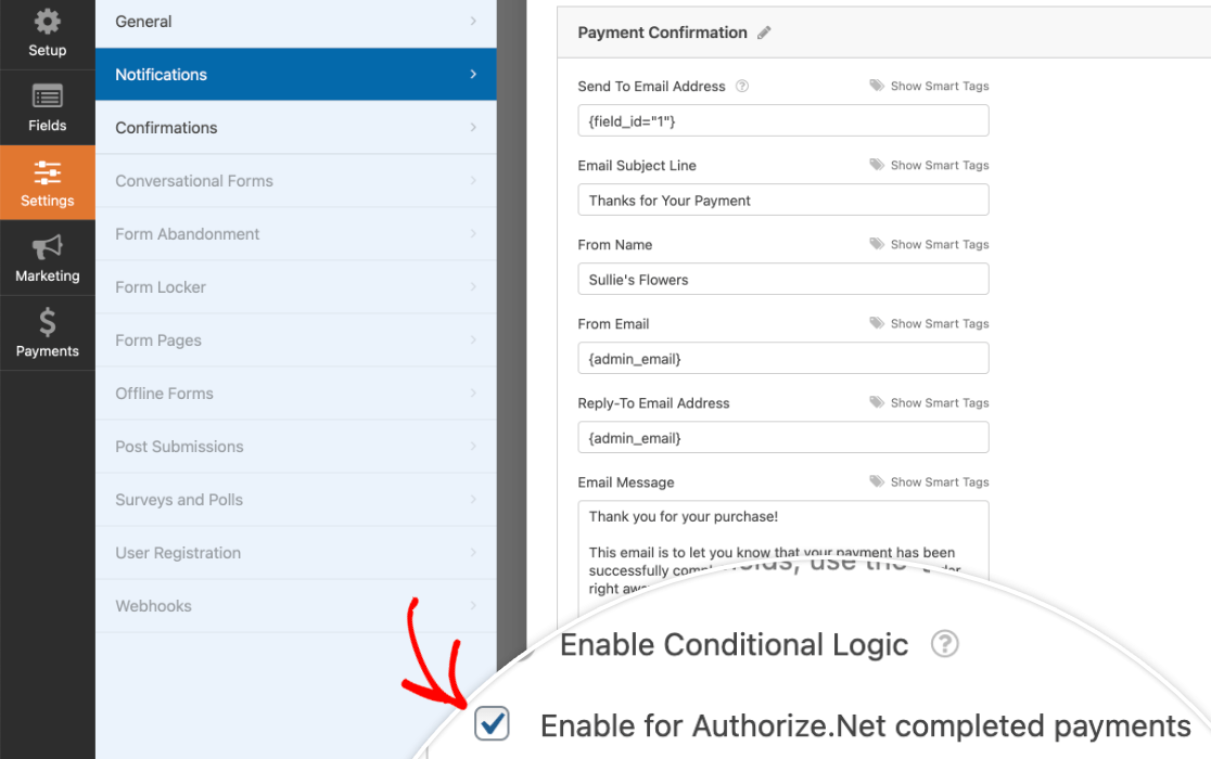 Enabling an email notification for Authorize.Net completed payments