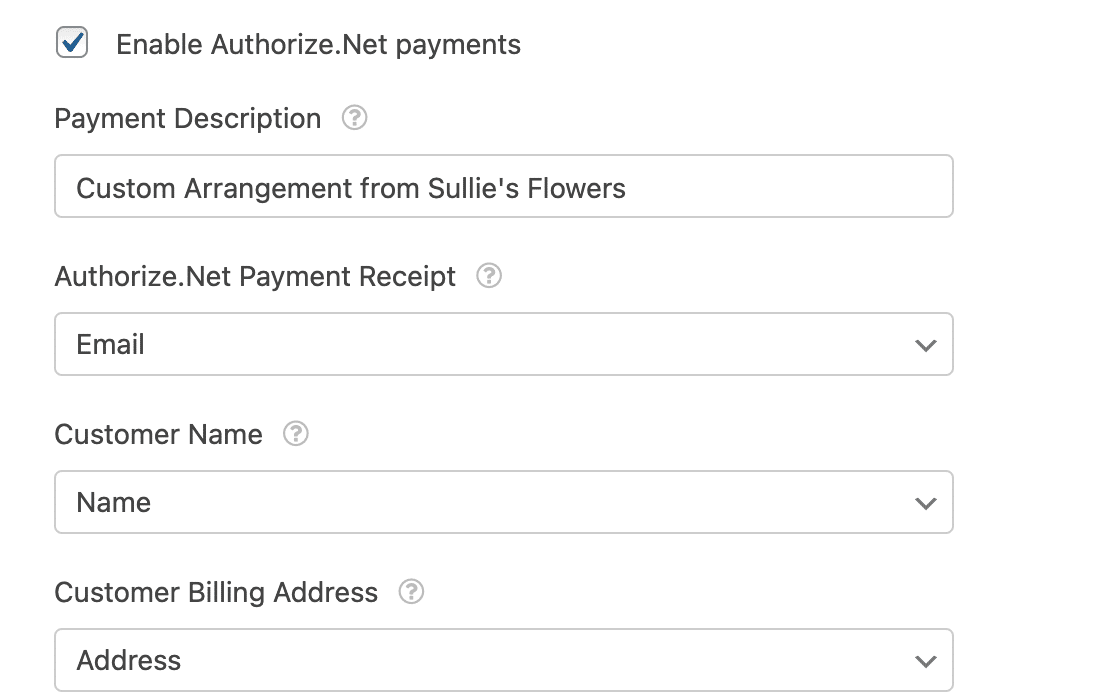 The Authorize.Net payments settings in the form builder