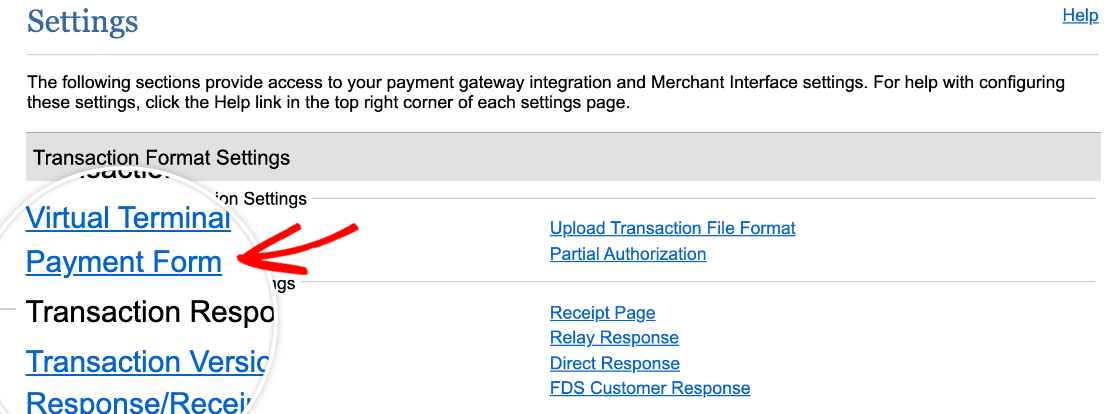 Accessing the Authorize.Net payment form settings