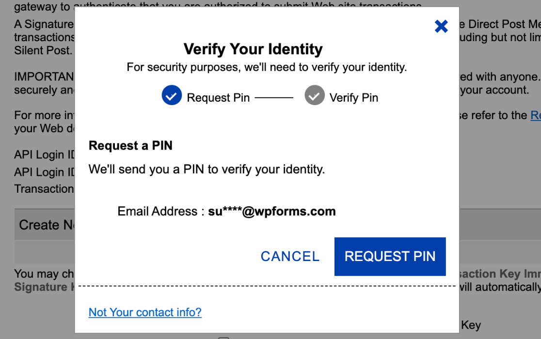 Verifying your identity in Authorize.Net to create a new transaction key
