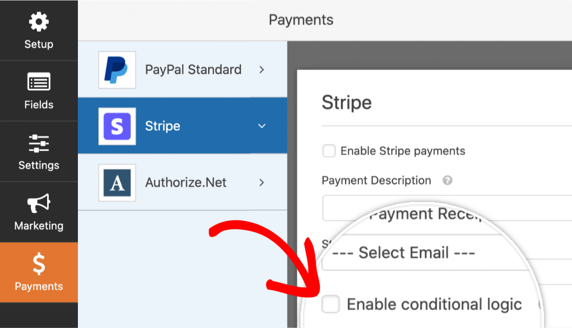 Enable conditional logic for subscription payment