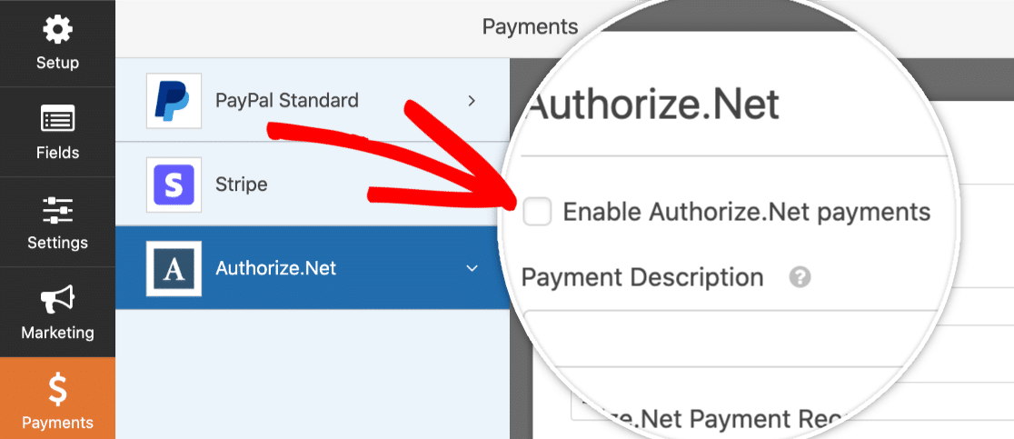 Enable Authorize.Net Payments