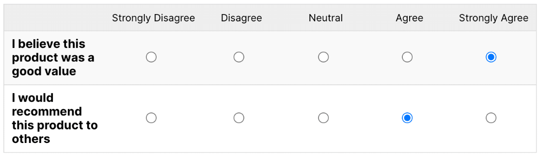 Classic style for Likert Scale field