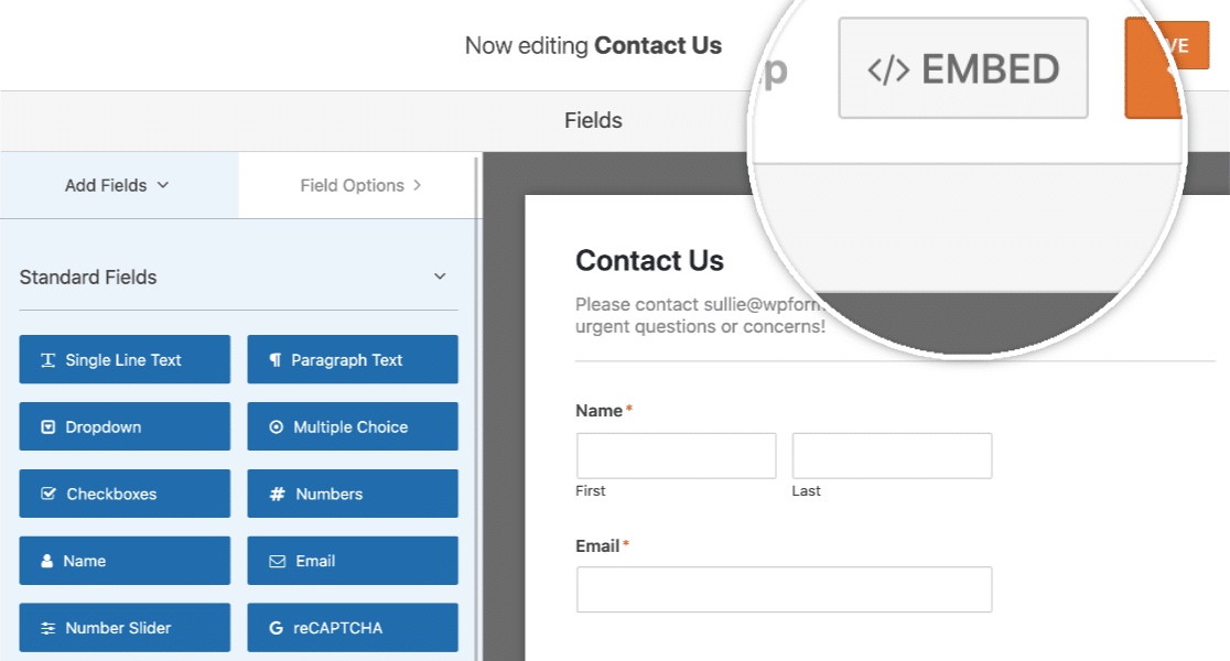 Click Embed Button in Form Builder