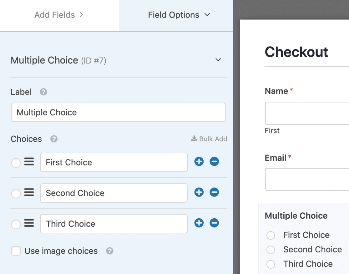 Click the Multiple Choice Field