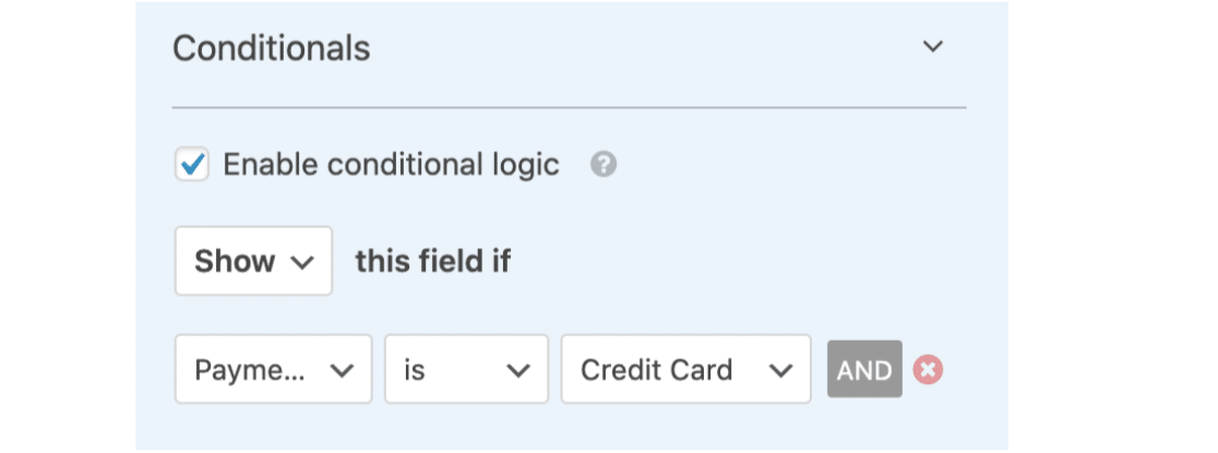 Conditional Logic for Credit Card Field