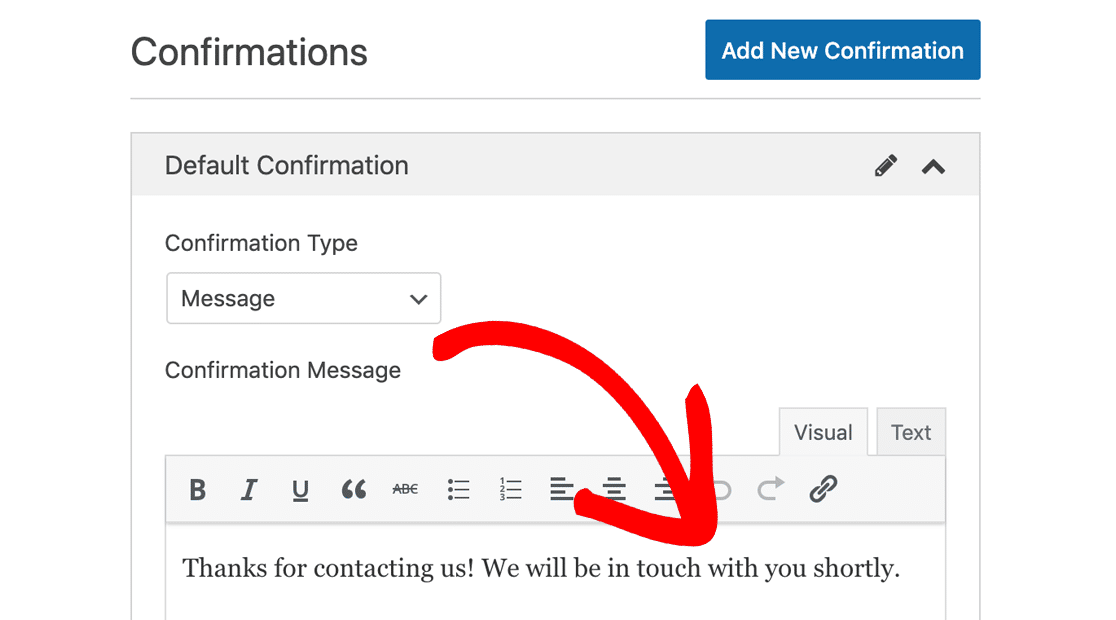 Customize the confirmation message in WPForms
