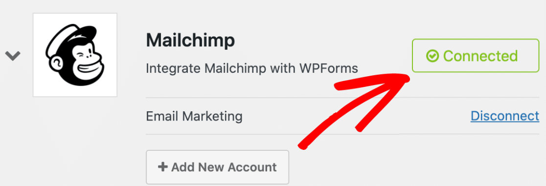 Mailchimp integration is connected