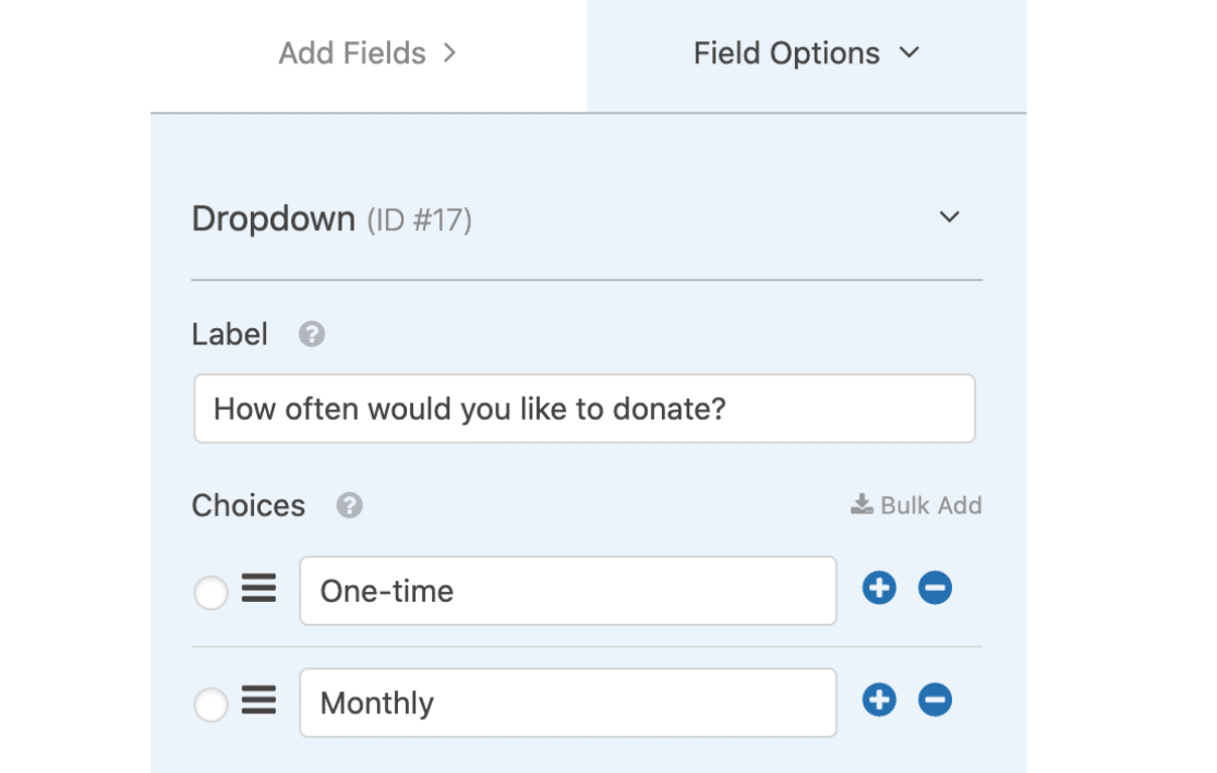 Let user choose one time or recurring payment