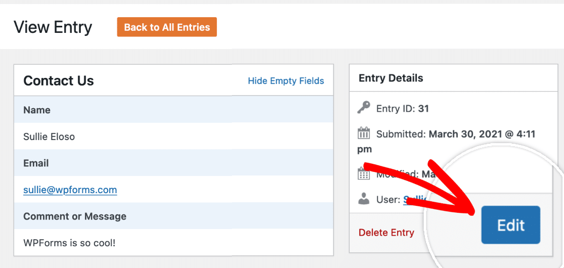 Click the Edit button on an entry