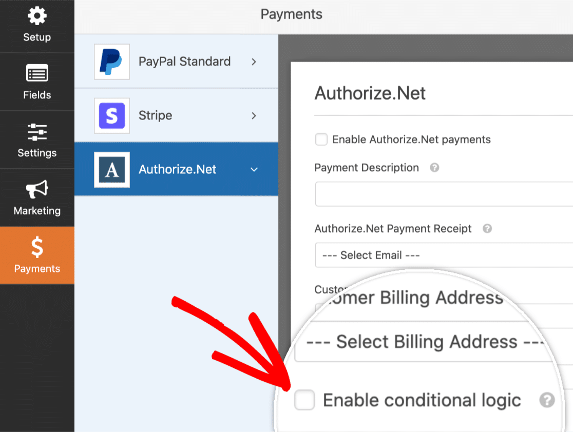 Enable Conditional Logic for Authorize.Net