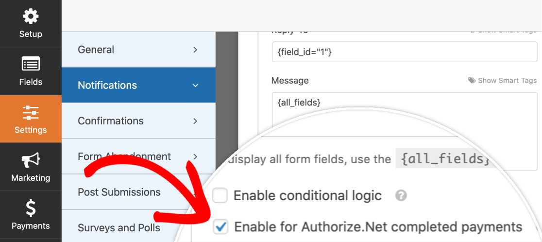 Enabling Authorize.Net For WPForms