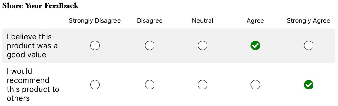 Likert Scale field example