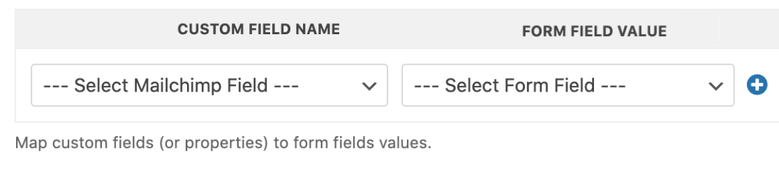 Map form fields to Mailchimp