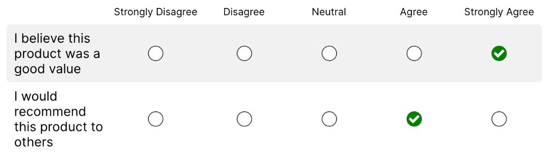 Modern style for Likert Scale field
