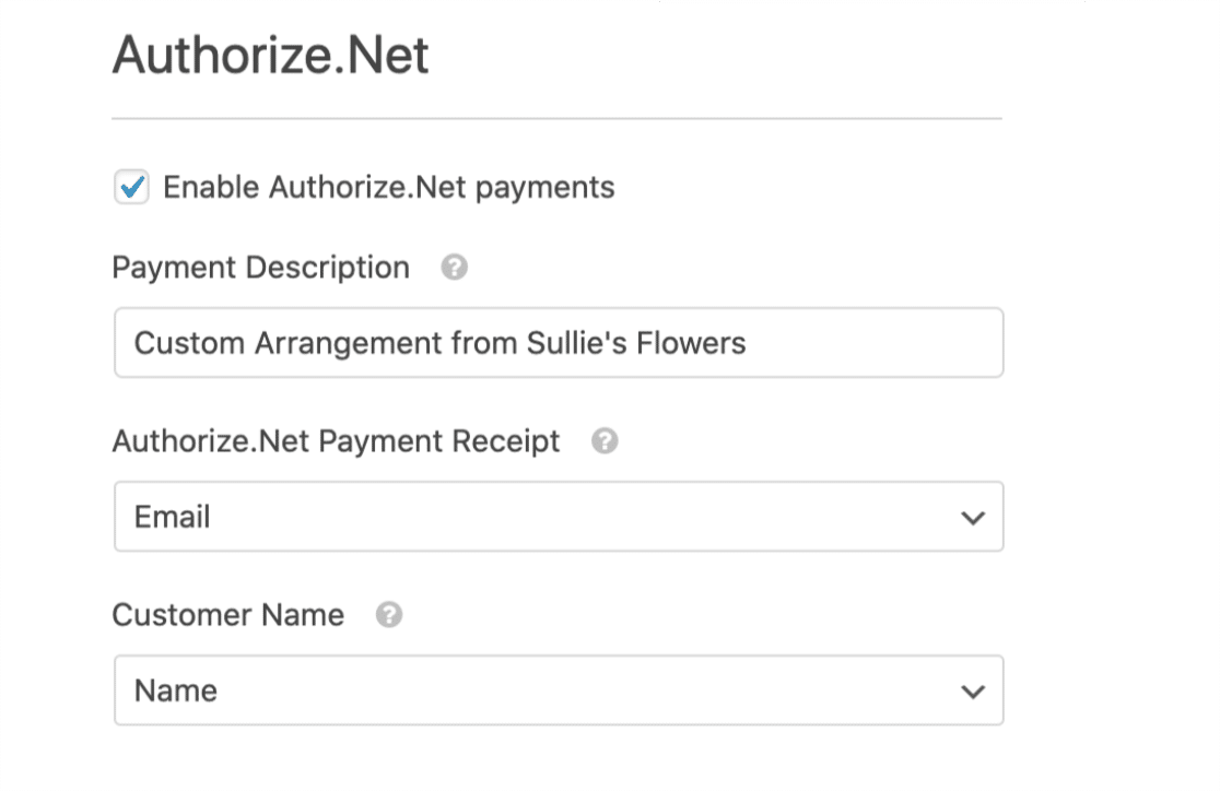 Payment settings for Authorize Net in WPForms form builder