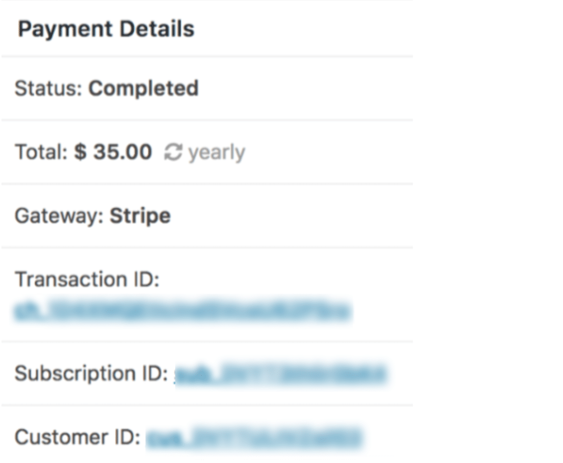 Stripe payment details for an individual entry in WPForms