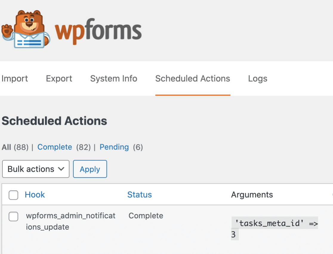 View Scheduled Actions in WPForms