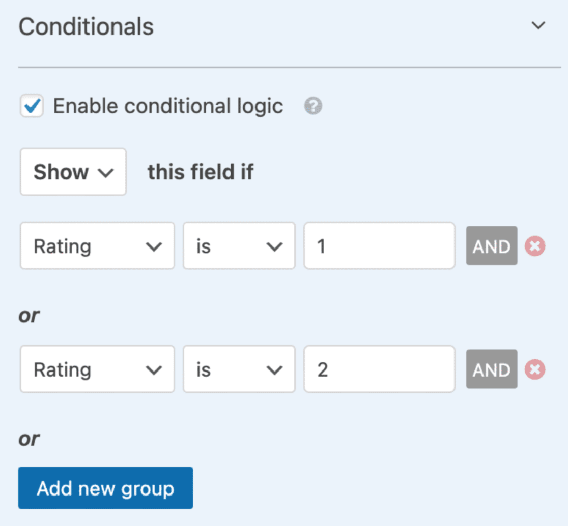 Set up conditional logic for paragraph field