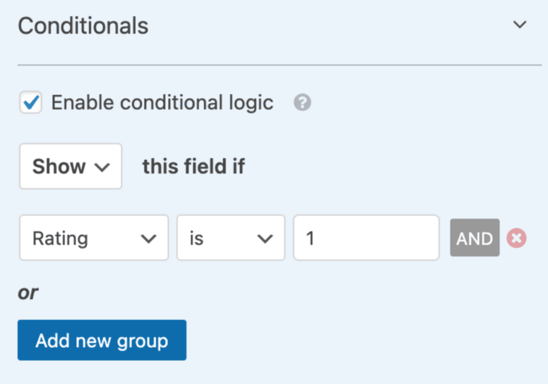 Set up first conditional logic rule for paragraph field