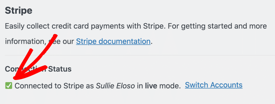 Stripe is successfully connected