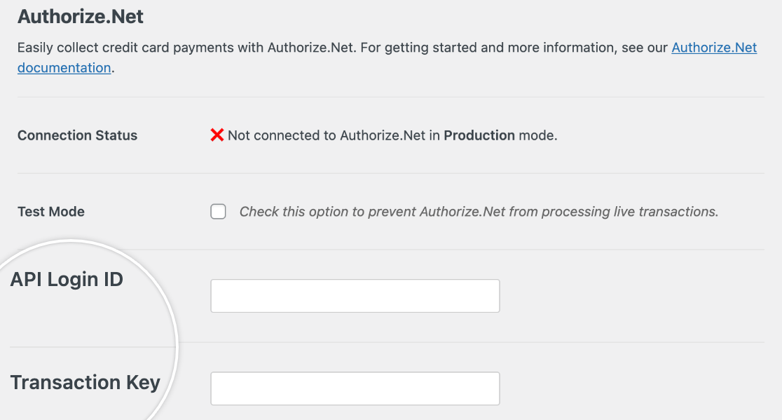 The Authorize.Net settings for WPForms