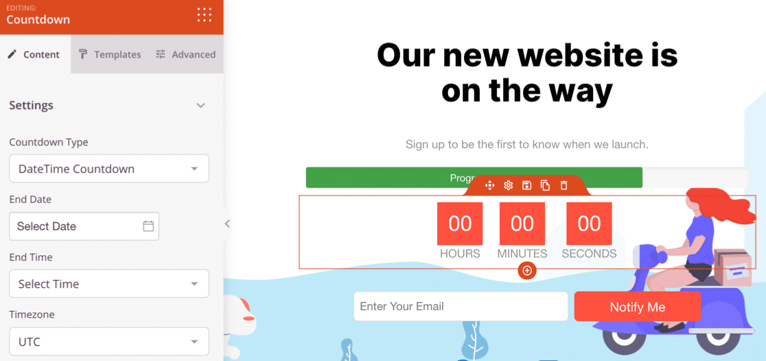 Edit your countdown timer for site launch