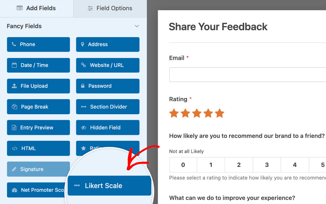 Adding a Likert Scale to a form