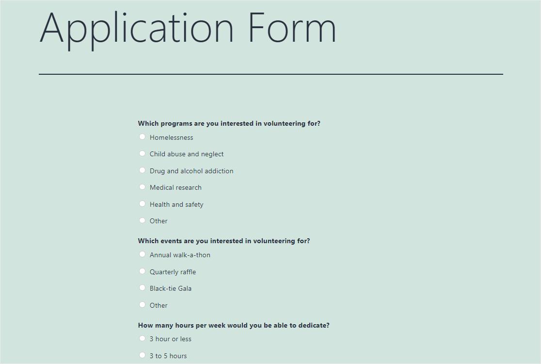application form on wordpress