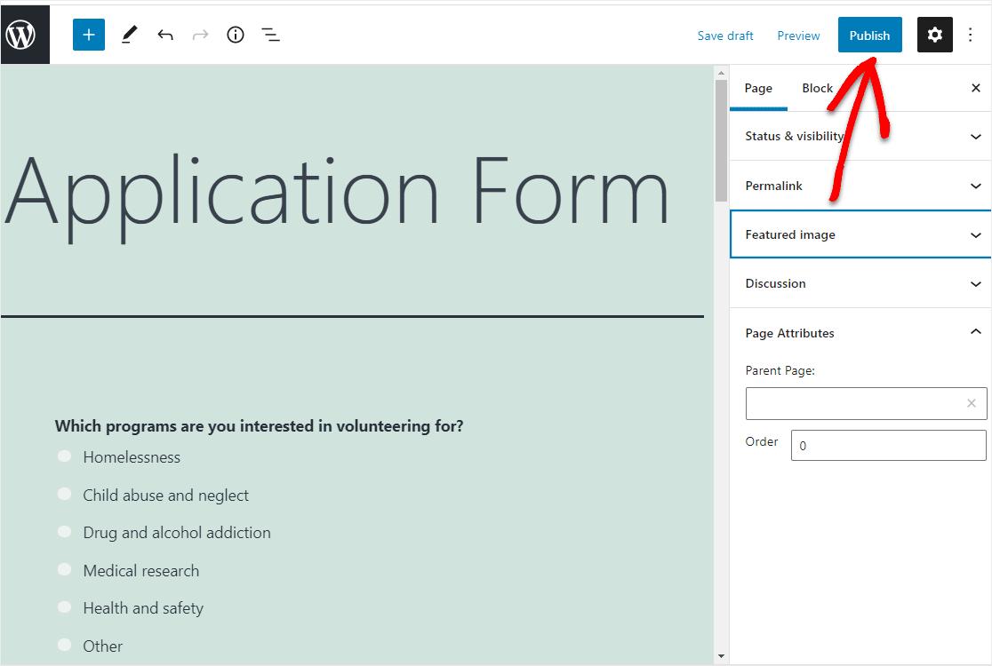 application form publish page wordpress