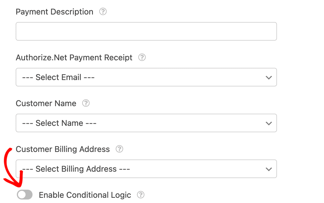 Enabling conditional logic for Authorize.Net payments in a form