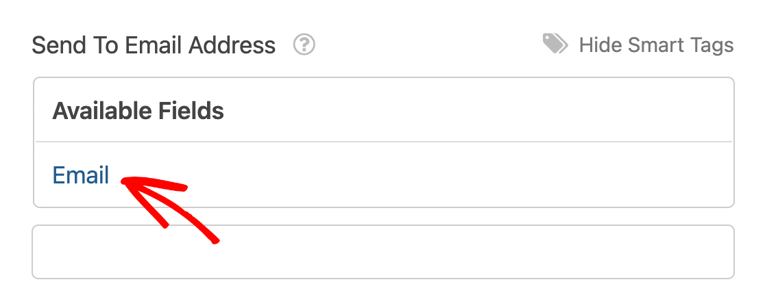 Selecting the Email field from the available fields Smart Tags