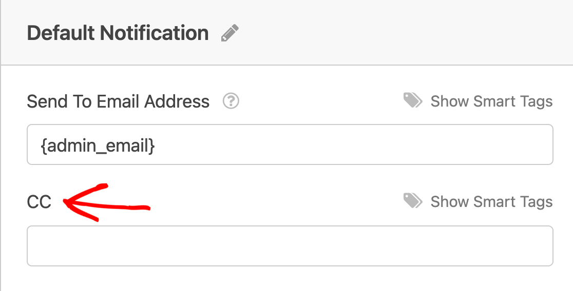 The CC field in the Notifications settings