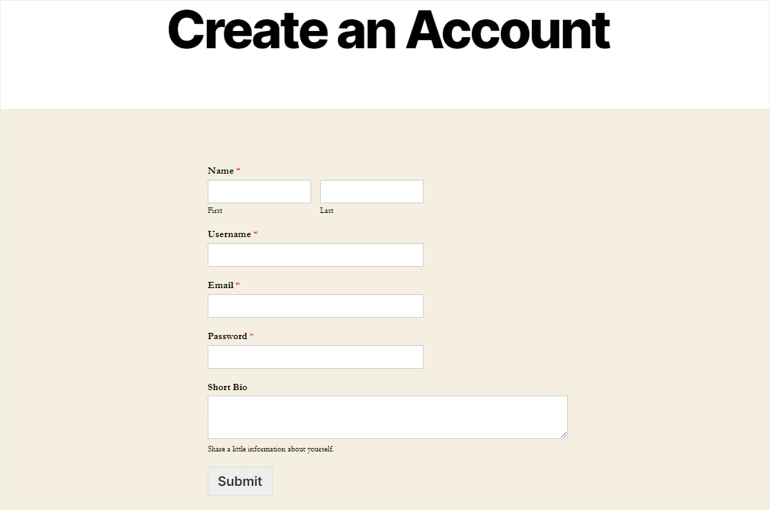 completed user registation form on any wordpress page