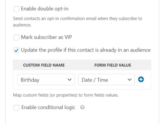 custom field mapping wpforms mailchimp addon