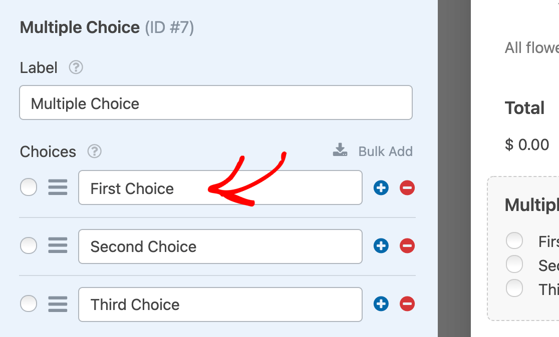 Editing the options for a Multiple Choice field