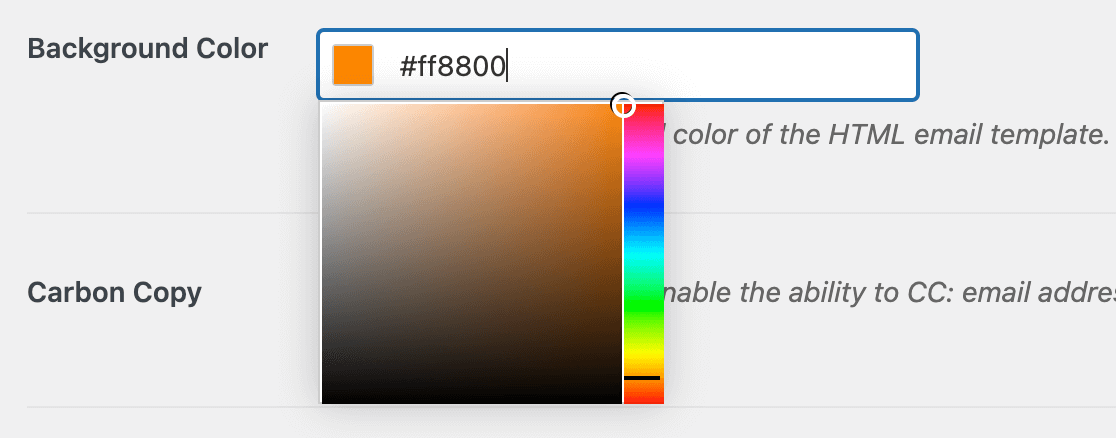 The WPForms email background color picker