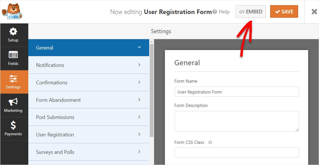 embed user registration form