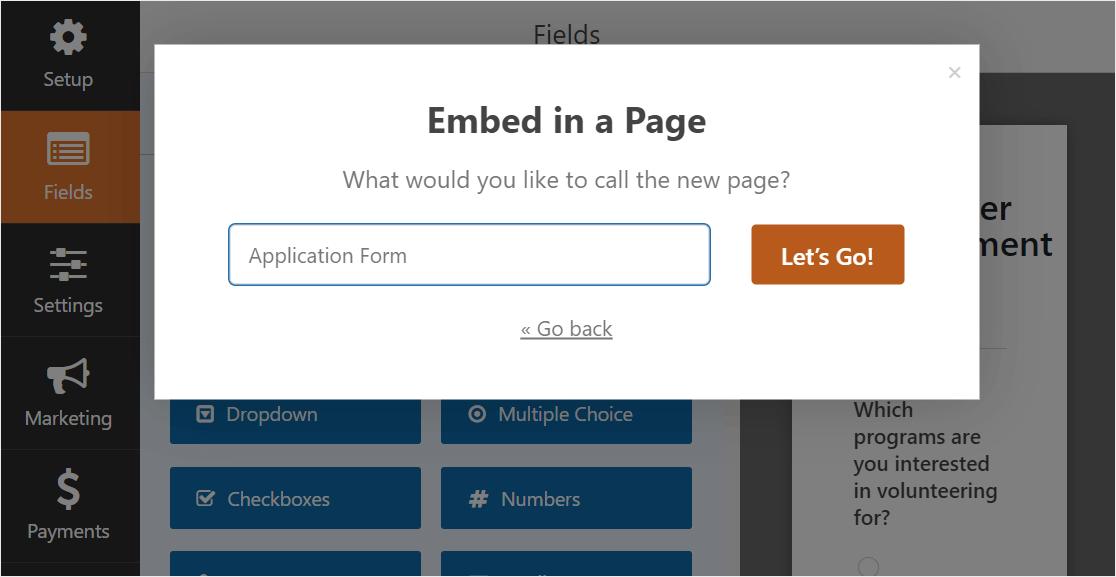 embed volunteer form