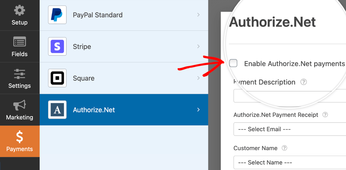 Enabling Authorize.Net payments in a form