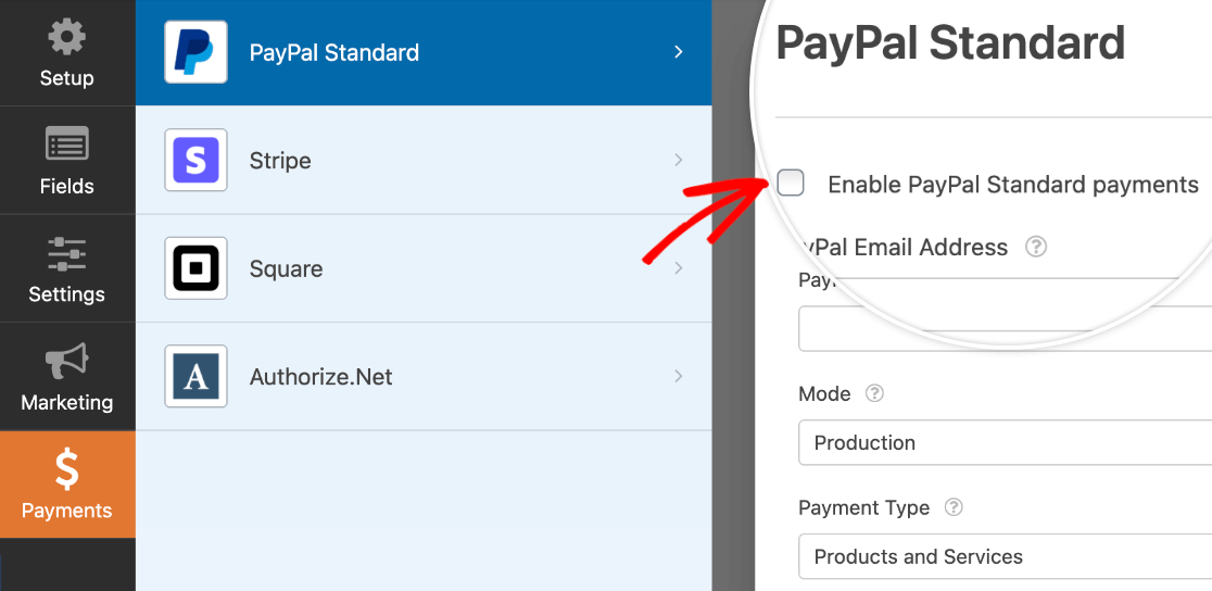 Enabling PayPal Standard payments for a form