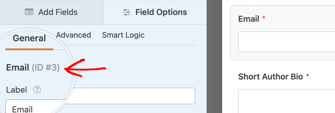Locating the field ID in the Field Options panel