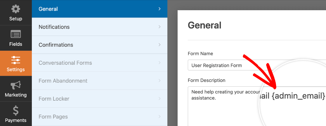 Adding the {admin_email} Smart Tag to a form description