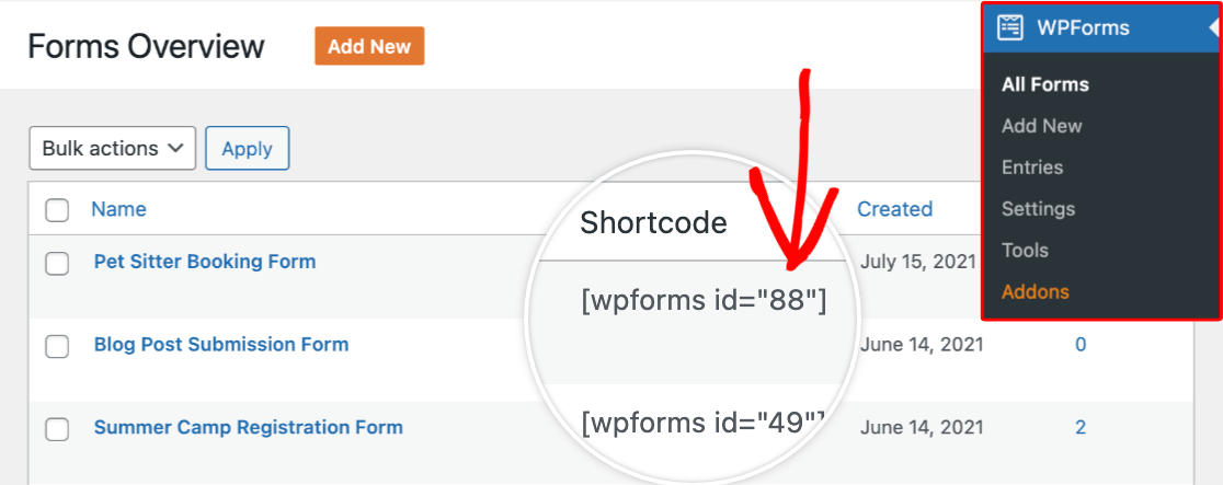 Viewing the form ID in the Shortcode column of the Forms Overview page