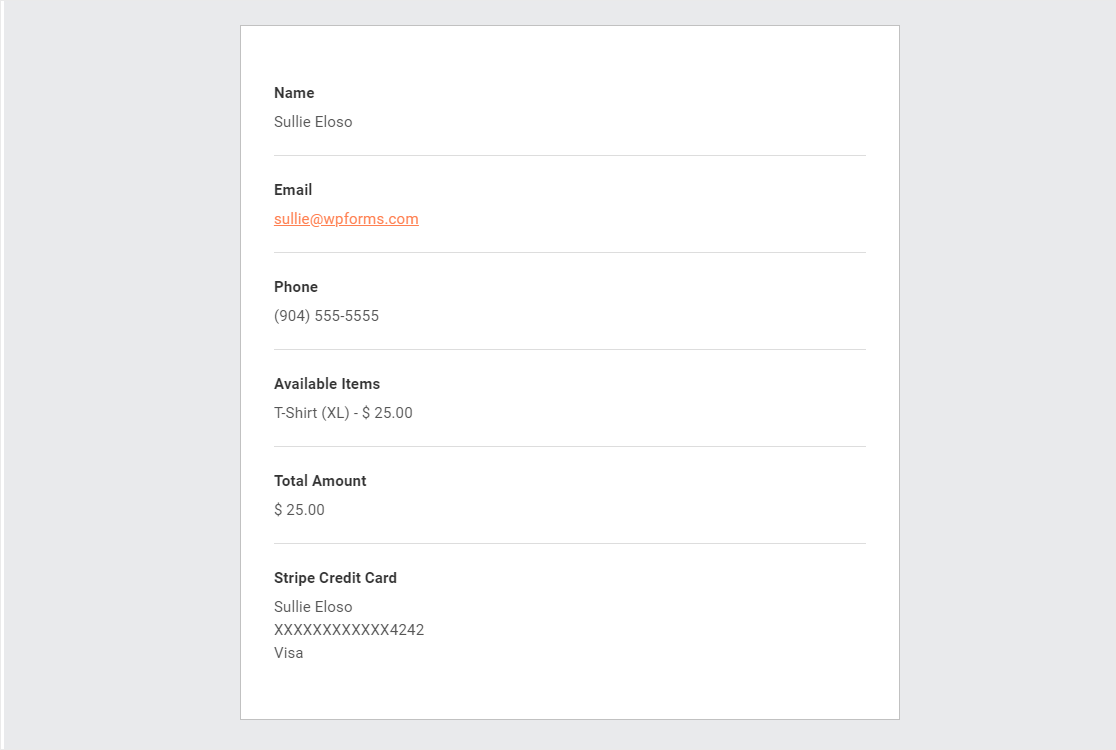 form notifications after completed payment