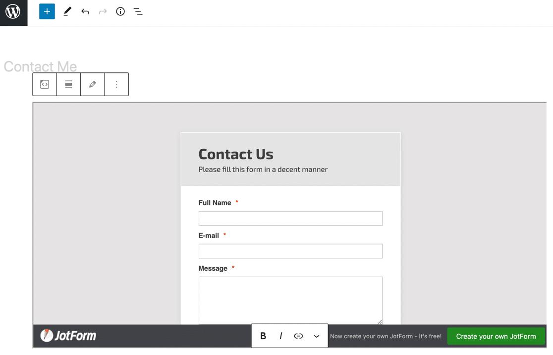 JotForm OEmbed plugin