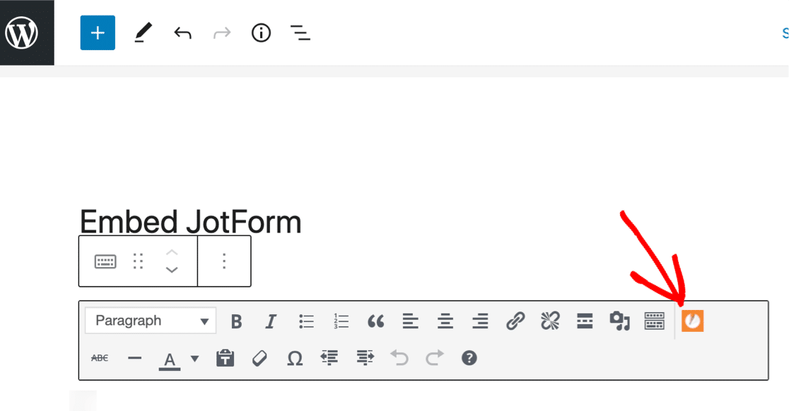 JotForm embed in WordPress