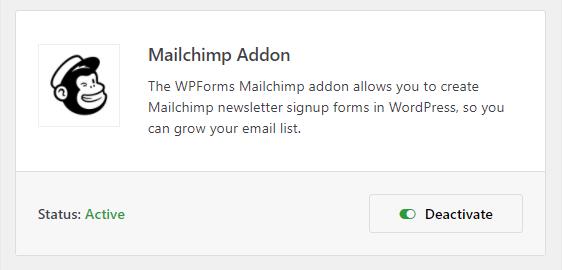 mailchimp addon in wpforms