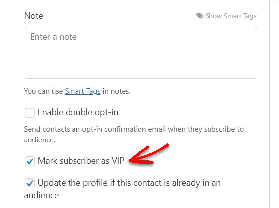 mark subscriber as vip