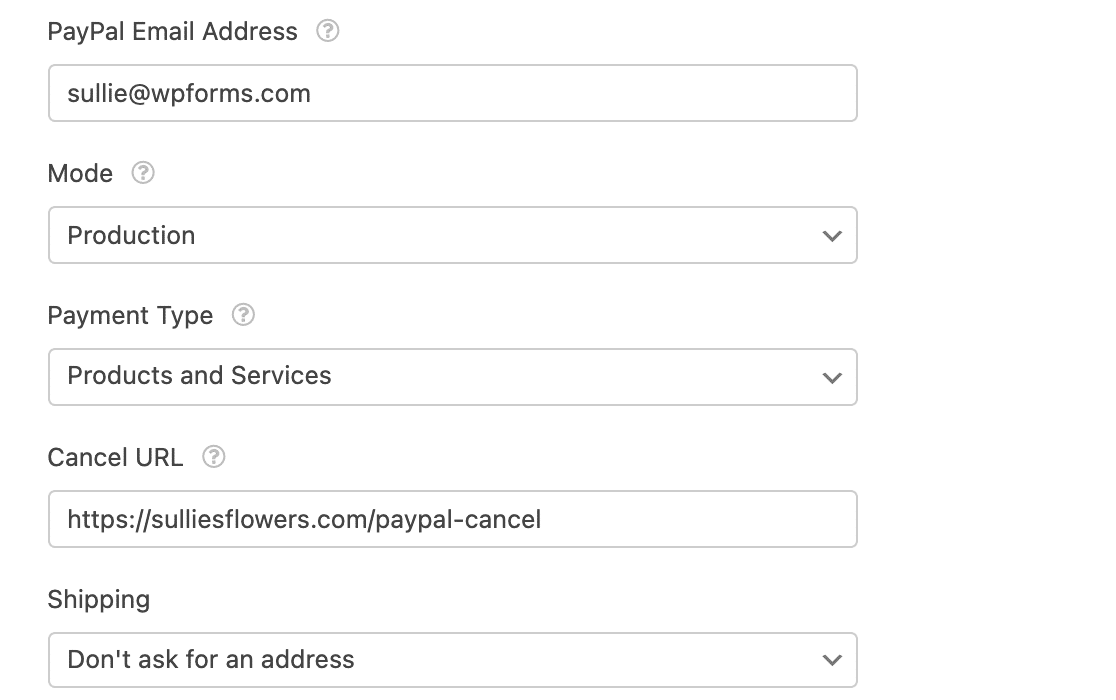 The WPForms PayPal Standard payments settings